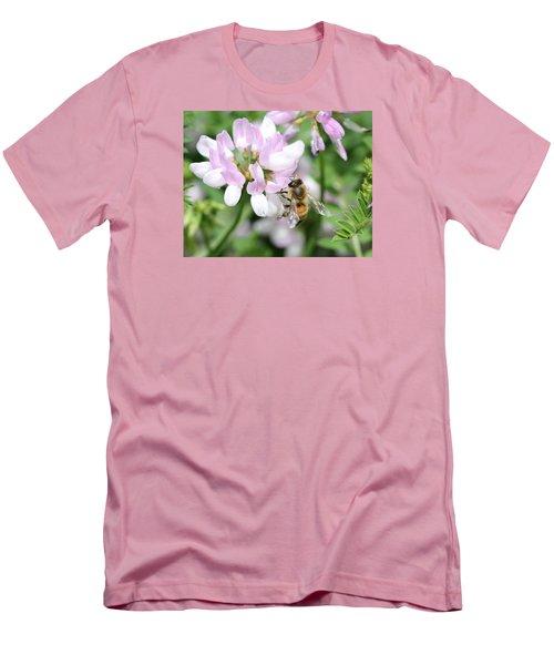 Honeybee On Crown Vetch Men's T-Shirt (Slim Fit) by Lucinda VanVleck