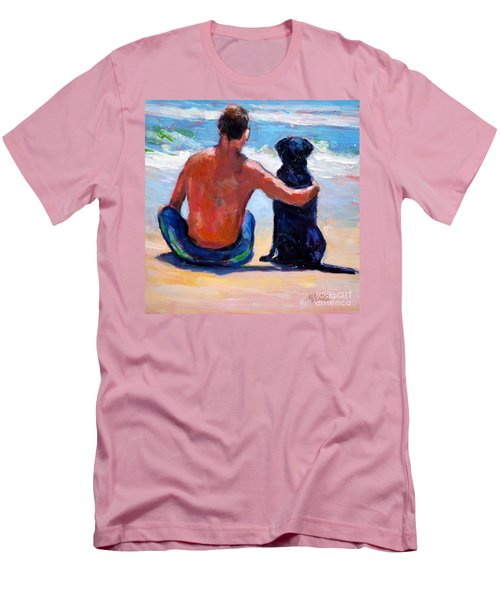 Sand Sea You Me Men's T-Shirt (Slim Fit) by Molly Poole
