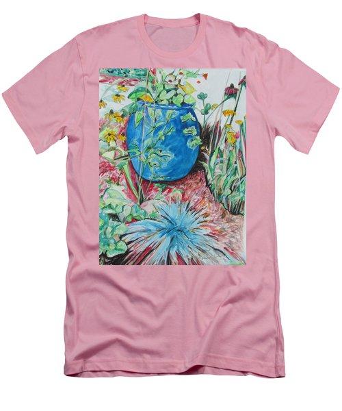 The Blue Flower Pot Men's T-Shirt (Slim Fit) by Esther Newman-Cohen
