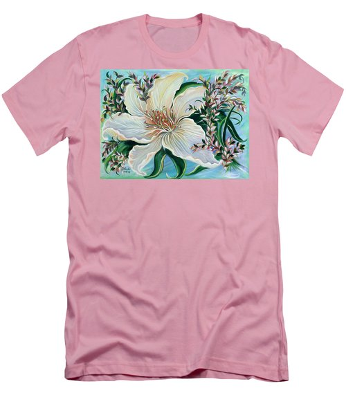 White Lily Men's T-Shirt (Slim Fit) by Yolanda Rodriguez