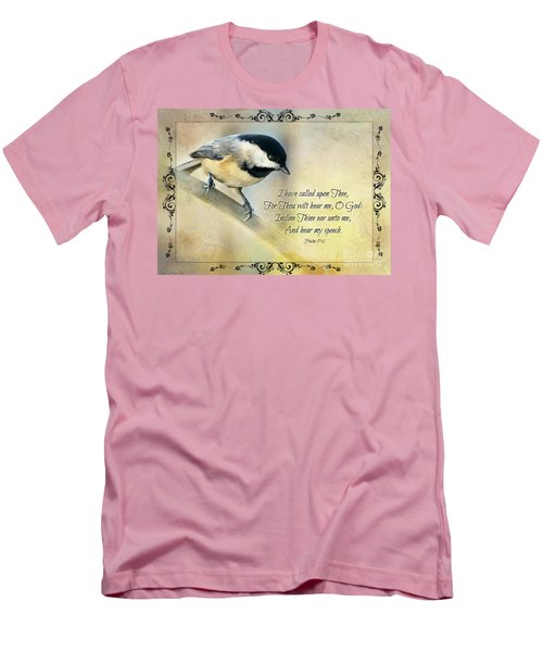Chickadee With Verse Men's T-Shirt (Athletic Fit)