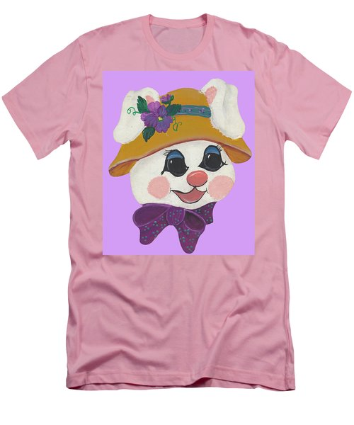 Men's T-Shirt (Slim Fit) featuring the painting Funny Bunny by Barbara McDevitt