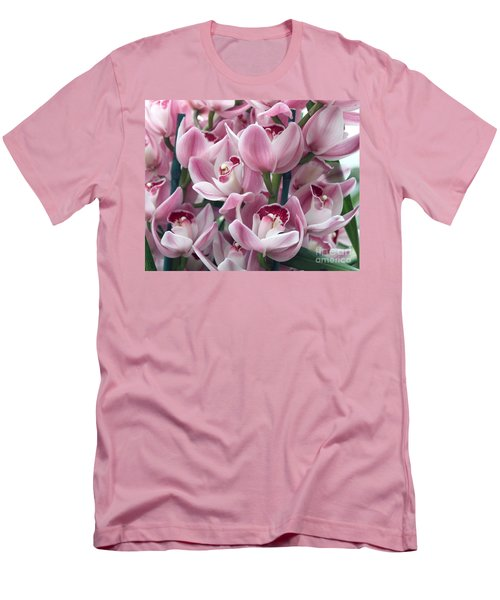 Pink Orchids Men's T-Shirt (Slim Fit) by Debbie Hart