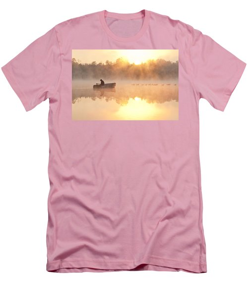 Sunrise In Fog Lake Cassidy With Fisherman In Small Fishing Boat Men's T-Shirt (Athletic Fit)