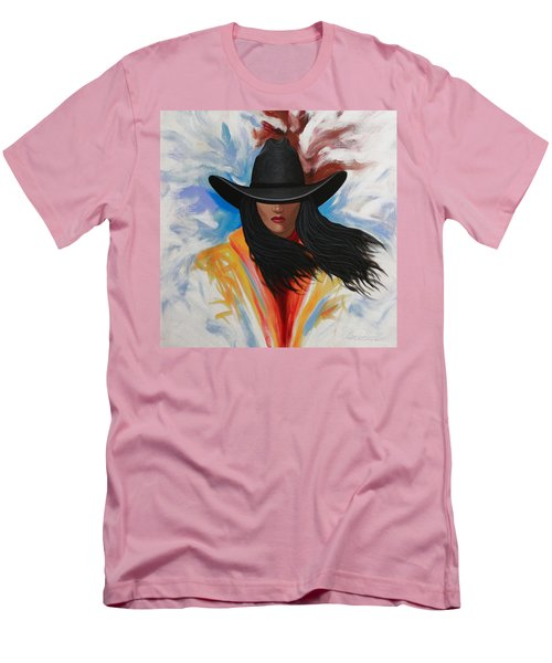 Men's T-Shirt (Slim Fit) featuring the painting A Stroke Of Cowgirl by Lance Headlee