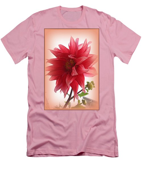 A Vision In  Coral - Dahlia Men's T-Shirt (Slim Fit) by Dora Sofia Caputo Photographic Art and Design