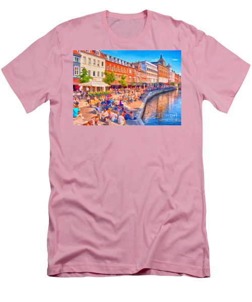 Aarhus Canal Digital Painting Men's T-Shirt (Slim Fit) by Antony McAulay