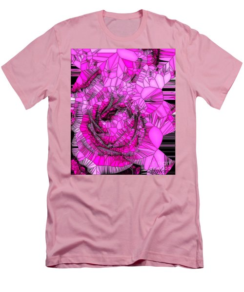 Abstract Pink Rose Mosaic Men's T-Shirt (Slim Fit) by Saundra Myles