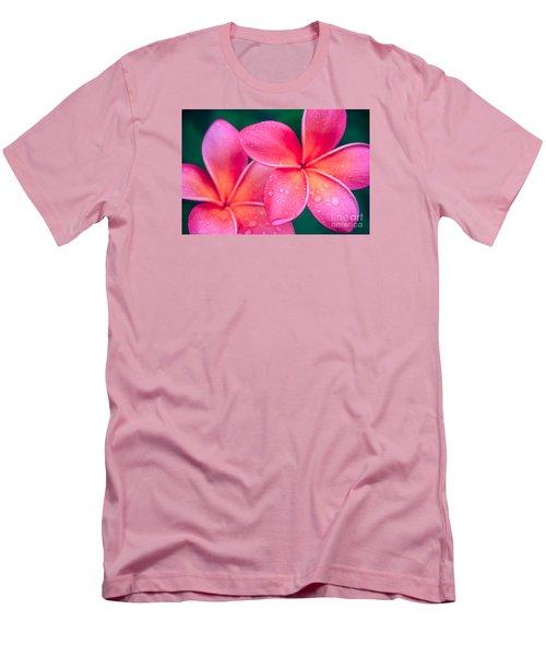 Aloha Hawaii Kalama O Nei Pink Tropical Plumeria Men's T-Shirt (Slim Fit) by Sharon Mau