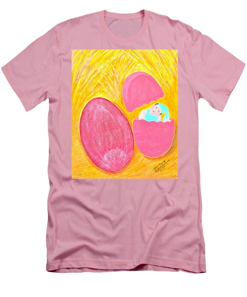 Men's T-Shirt (Slim Fit) featuring the painting Baby Egg by Lorna Maza