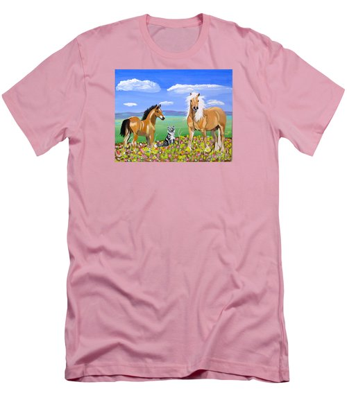 Bay Colt Golden Palomino And Pal Men's T-Shirt (Slim Fit) by Phyllis Kaltenbach