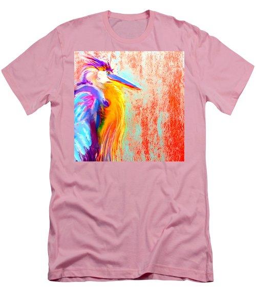 Funky Blue Heron Bird Men's T-Shirt (Athletic Fit)