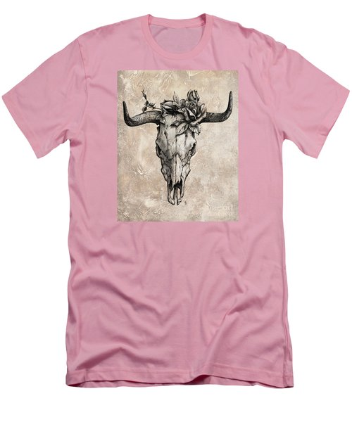 Bull Skull And Rose Men's T-Shirt (Slim Fit) by Emerico Imre Toth