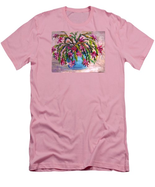 Christmas Cactus Men's T-Shirt (Slim Fit) by Lou Ann Bagnall