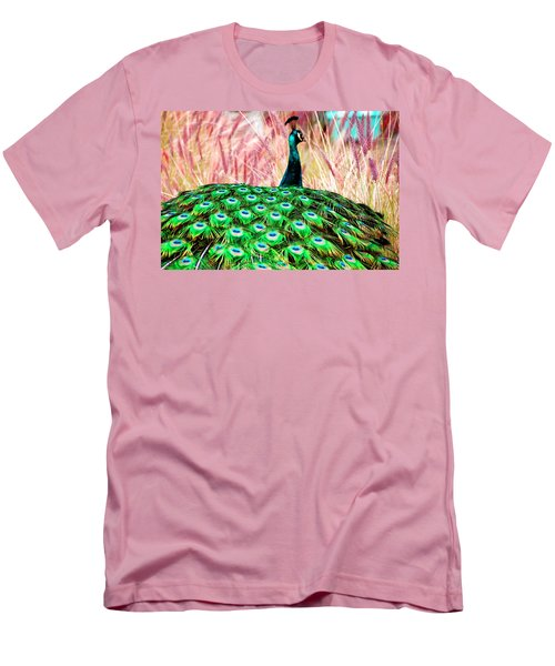 Men's T-Shirt (Slim Fit) featuring the photograph Colorful Peacock by Matt Harang