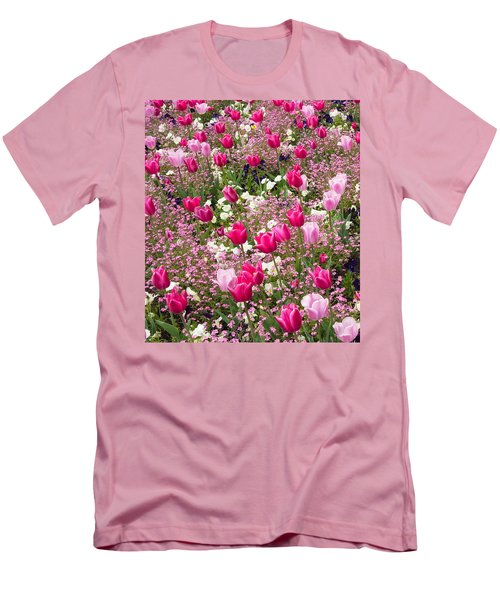 Colorful Pink Tulips And Other Flowers In Spring Men's T-Shirt (Slim Fit) by Matthias Hauser