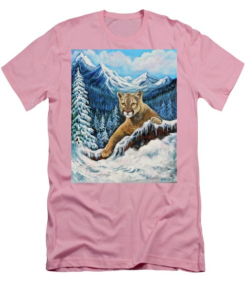 Men's T-Shirt (Slim Fit) featuring the painting Cougar Sedona Red Rocks  by Bob and Nadine Johnston
