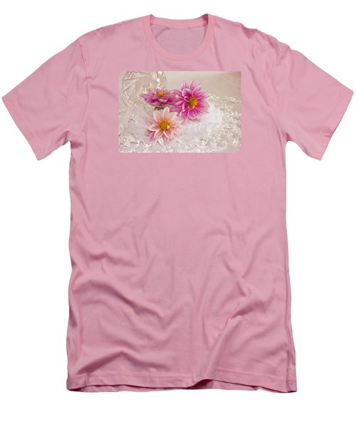 Men's T-Shirt (Slim Fit) featuring the photograph Dahlias And Lace by Sandra Foster