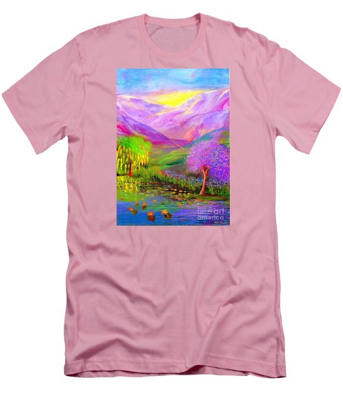 Men's T-Shirt (Slim Fit) featuring the painting Dream Lake by Jane Small
