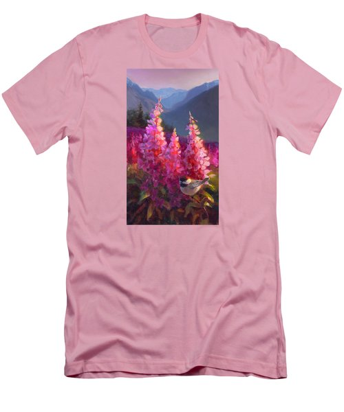 Eagle River Summer Chickadee And Fireweed Alaskan Landscape Men's T-Shirt (Slim Fit) by Karen Whitworth