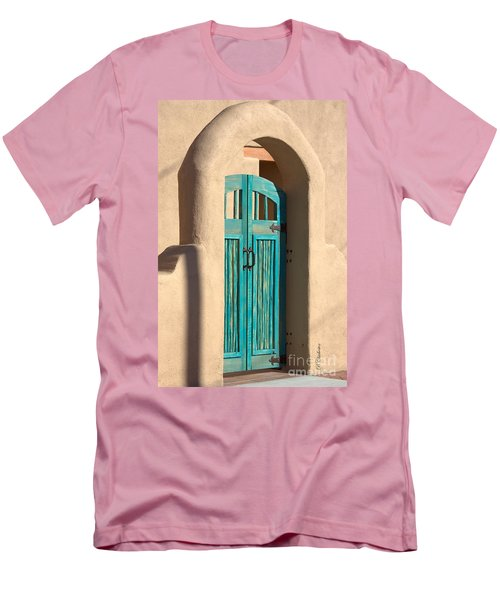 Men's T-Shirt (Slim Fit) featuring the photograph Enter Turquoise by Barbara Chichester
