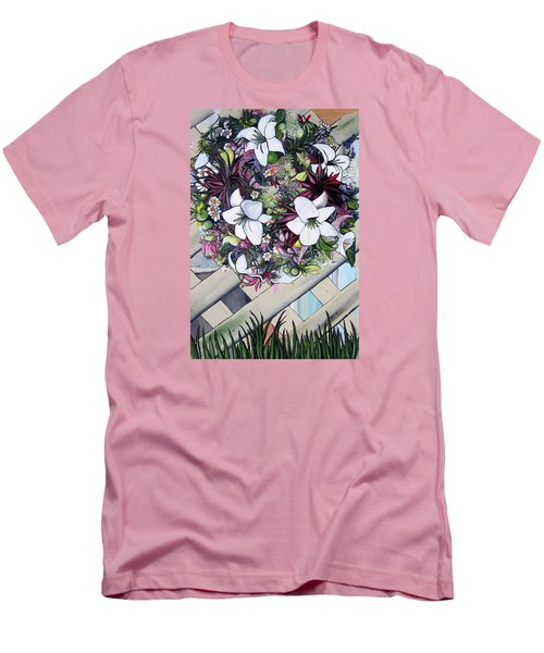 Floral Wreath Men's T-Shirt (Slim Fit) by Mary Ellen Frazee