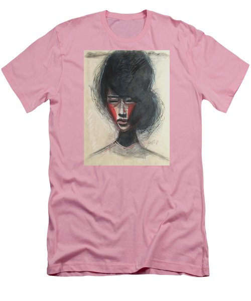 Men's T-Shirt (Slim Fit) featuring the painting Geisha Make Up by Jarmo Korhonen aka Jarko