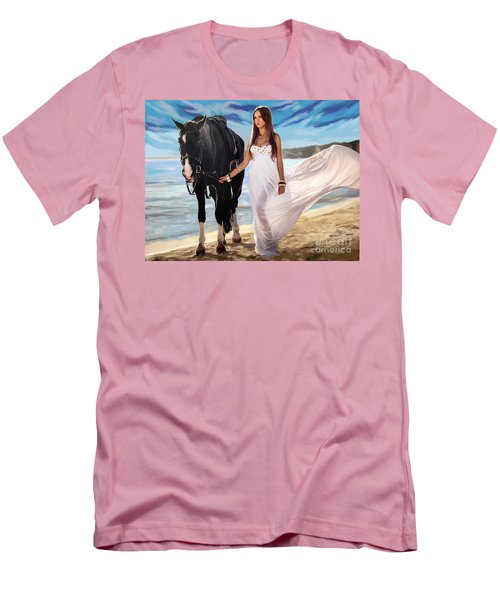 Men's T-Shirt (Slim Fit) featuring the painting Girl And Horse On Beach by Tim Gilliland