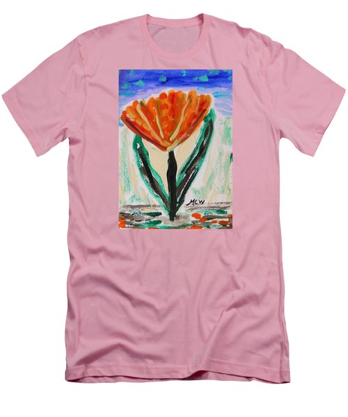 Men's T-Shirt (Slim Fit) featuring the painting Girl-flowers From The Flower Patch by Mary Carol Williams