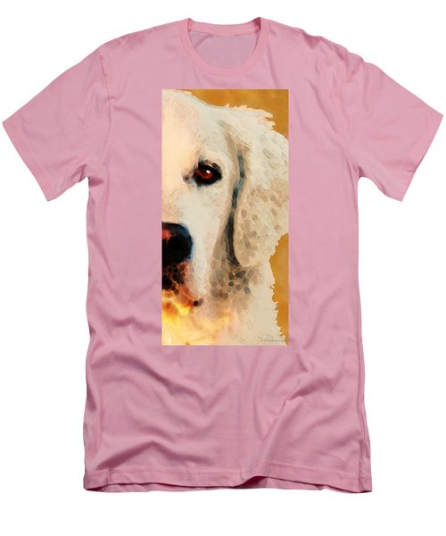 Men's T-Shirt (Athletic Fit) featuring the painting Golden Retriever Half Face By Sharon Cummings by Sharon Cummings