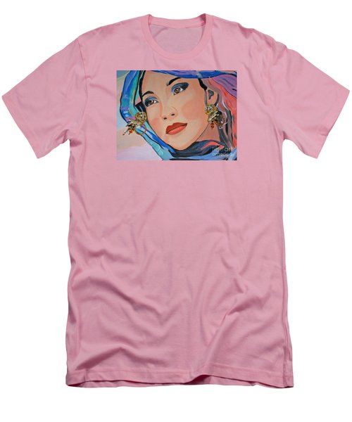Gorgeous Lady With Beautiful Earrins Men's T-Shirt (Slim Fit) by Phyllis Kaltenbach
