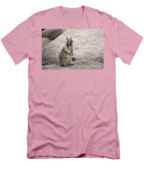 Ground Squirrel Raising A Ruckus Men's T-Shirt (Slim Fit) by Susan Wiedmann