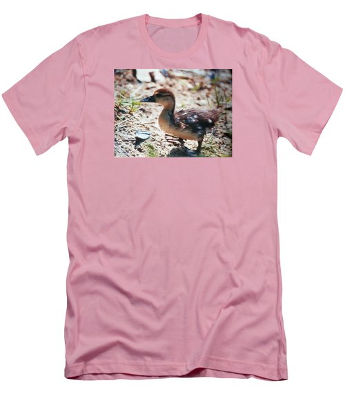 Men's T-Shirt (Slim Fit) featuring the photograph Lost Baby Duckling by Belinda Lee