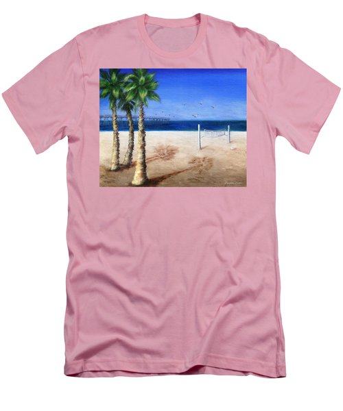 Men's T-Shirt (Slim Fit) featuring the painting Hermosa Beach Pier by Jamie Frier