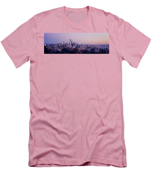 High Angle View Of A City At Sunrise Men's T-Shirt (Athletic Fit)