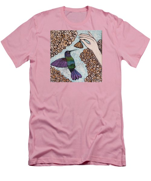 Men's T-Shirt (Slim Fit) featuring the painting Hummingbird Golden Flower by Jasna Gopic