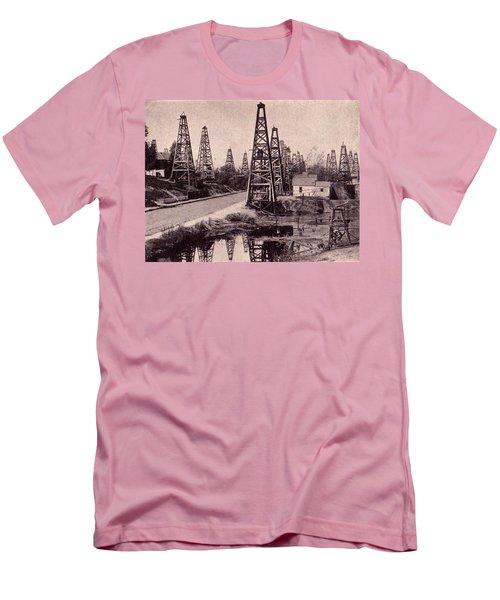Indiana Petroluem Wells Circa 1900 Men's T-Shirt (Slim Fit) by Peter Gumaer Ogden