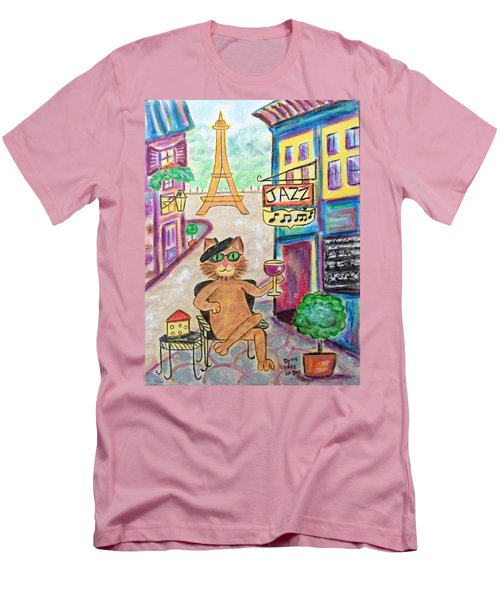 Men's T-Shirt (Slim Fit) featuring the painting Jazz Cat by Diane Pape