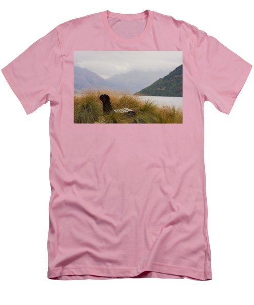 Men's T-Shirt (Slim Fit) featuring the photograph Lake Wakatipu Bench by Stuart Litoff