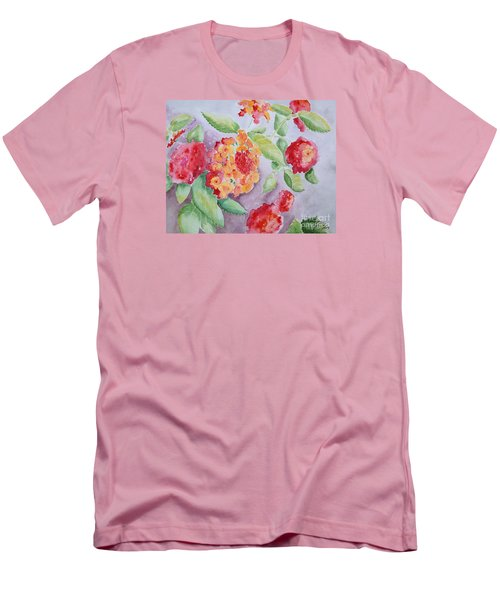 Men's T-Shirt (Slim Fit) featuring the painting Lantana by Marilyn Zalatan