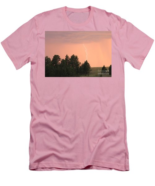 Men's T-Shirt (Slim Fit) featuring the photograph Lighting Strikes In Custer State Park by Bill Gabbert