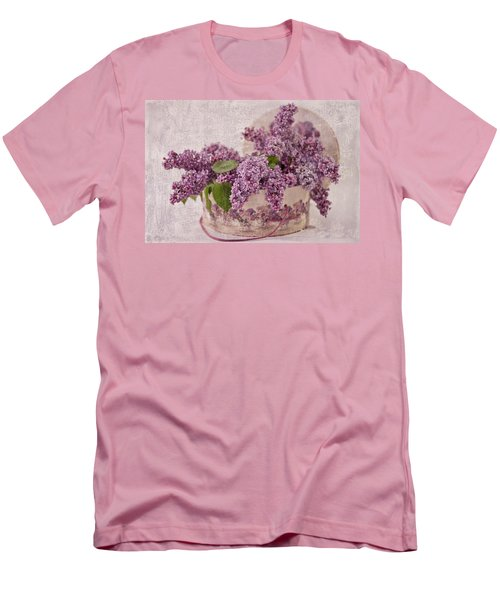 Men's T-Shirt (Slim Fit) featuring the photograph Lilacs In The Box by Sandra Foster
