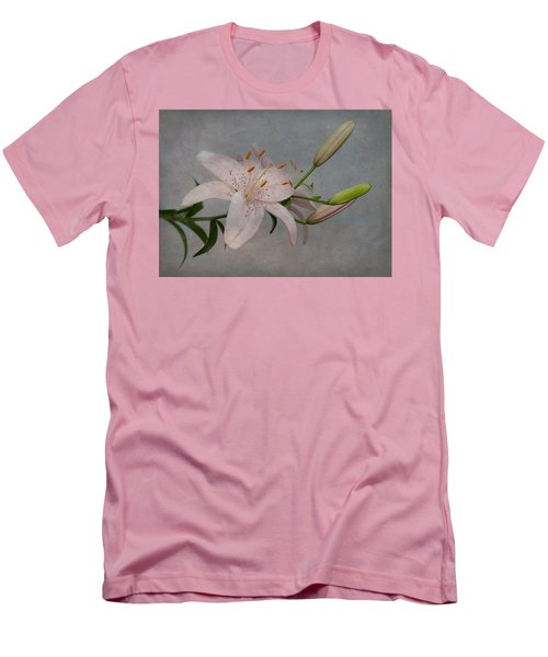 Men's T-Shirt (Slim Fit) featuring the photograph Pink Lily With Texture by Patti Deters