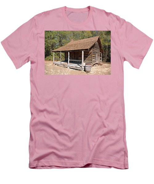 Men's T-Shirt (Slim Fit) featuring the photograph Log Cabin by Charles Beeler