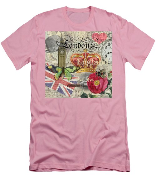 London England Vintage Travel Collage  Men's T-Shirt (Athletic Fit)