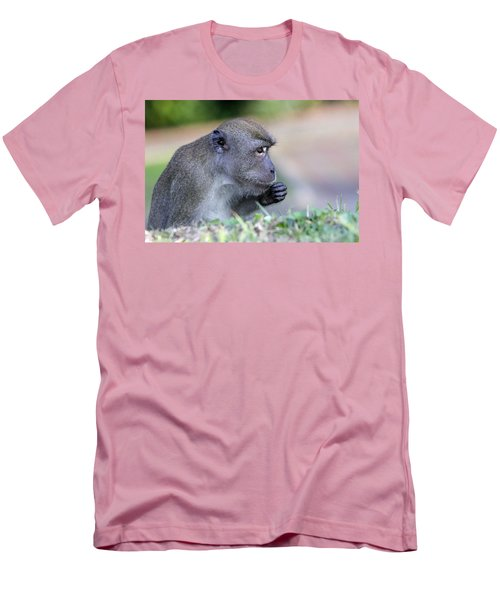 Men's T-Shirt (Slim Fit) featuring the photograph Long Tailed Macaque Feeding by Shoal Hollingsworth