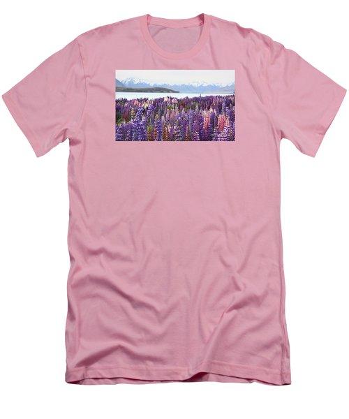 Men's T-Shirt (Slim Fit) featuring the photograph Lupins At Tekapo by Nareeta Martin