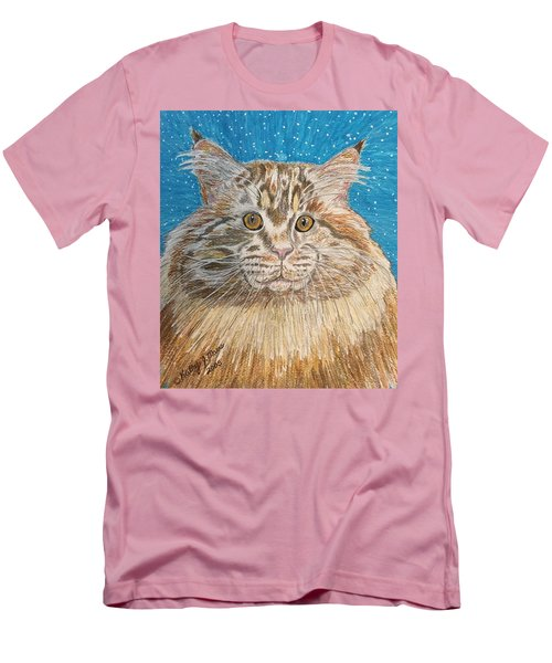 Men's T-Shirt (Slim Fit) featuring the painting Maine Coon Cat by Kathy Marrs Chandler