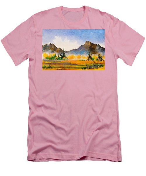 Men's T-Shirt (Slim Fit) featuring the painting Matanuska Autumn by Teresa Ascone