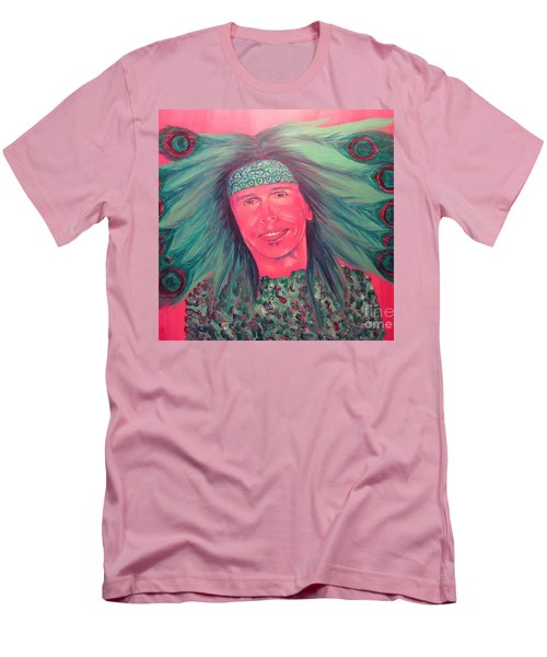 Men's T-Shirt (Slim Fit) featuring the painting Mister Peacock by Jeepee Aero